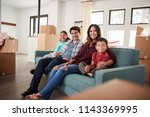 portrait of happy family... | Shutterstock . vector #1143369995