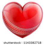 a cricket ball in a heart shape.... | Shutterstock .eps vector #1143382718
