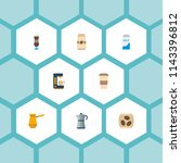 set of coffee icons flat style... | Shutterstock .eps vector #1143396812