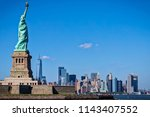 the statue of liberty with new... | Shutterstock . vector #1143407552