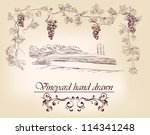 hand drawn label vineyards... | Shutterstock .eps vector #114341248