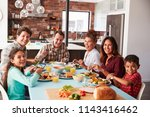 portrait of multi generation... | Shutterstock . vector #1143416462