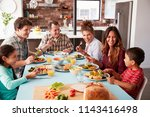 multi generation family... | Shutterstock . vector #1143416498