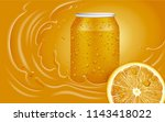 orange juice can  slice and... | Shutterstock .eps vector #1143418022