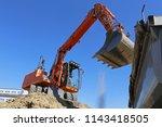 dredging  earthwork with... | Shutterstock . vector #1143418505