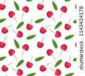 cherry  pattern  berry   Shutterstock .eps vector #1143424178