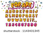 comic retro letters set.... | Shutterstock .eps vector #1143431345