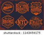 vintage varsity vector graphics. | Shutterstock .eps vector #1143454175