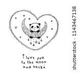 greeting card with cute panda... | Shutterstock . vector #1143467138
