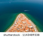 aerial view of old town piran.... | Shutterstock . vector #1143489338