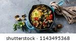 pasta spaghetti alle vongole... | Shutterstock . vector #1143495368