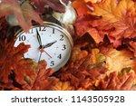 vintage alarm clock buried... | Shutterstock . vector #1143505928