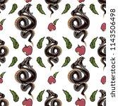 viper snake and apple seamless... | Shutterstock .eps vector #1143506498