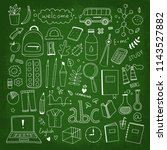hand drawn school elements on... | Shutterstock .eps vector #1143527882