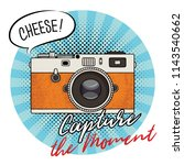 Vector illustration of a retro photo camera in a pop art style. Vintage photo camera icon. Capture the moment text.