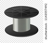 silver cable coil mockup.... | Shutterstock .eps vector #1143557492