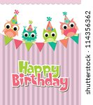 happy birthday card design.... | Shutterstock .eps vector #114356362