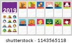 a vector 2019 complete calendar ... | Shutterstock .eps vector #1143565118