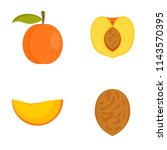 peach tree slices fruit half... | Shutterstock .eps vector #1143570395