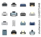 fax printer icons set. flat...   Shutterstock .eps vector #1143571448