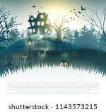 scary graveyard and house in... | Shutterstock .eps vector #1143573215