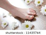 female foot on the dark... | Shutterstock . vector #11435764