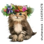 Stock photo a fluffy kitten and a hat with fruit watercolor drawing 1143592478