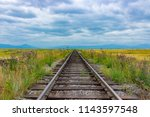 railway to horizon. vintage... | Shutterstock . vector #1143597548