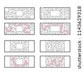 a set of rectangular mazes for... | Shutterstock .eps vector #1143629318