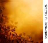 Autumn design floral background with leaves in season colors. Fall decoration concept. - stock photo