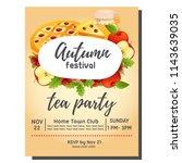 tea party autumn with apple pie | Shutterstock .eps vector #1143639035