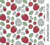 raspberry seamless pattern.... | Shutterstock .eps vector #1143647135