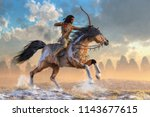 an american indian of the... | Shutterstock . vector #1143677615