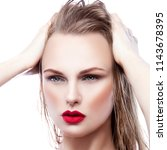 fashion model woman with bright ... | Shutterstock . vector #1143678395