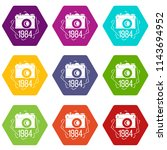 1984 photo camera icons 9 set... | Shutterstock . vector #1143694952