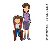 mother with little boy in chair ... | Shutterstock .eps vector #1143701315