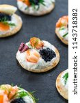 selection of cocktail blinis... | Shutterstock . vector #1143718382