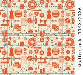 stylized retro seamless pattern ... | Shutterstock .eps vector #114372136