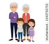 cute grandparents couple with... | Shutterstock .eps vector #1143732722