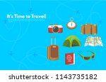 traveler's accessories.... | Shutterstock .eps vector #1143735182