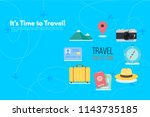 traveler's accessories.... | Shutterstock .eps vector #1143735185