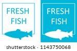 silhouette of fish in frame ... | Shutterstock .eps vector #1143750068