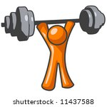 an orange man lifting weights... | Shutterstock . vector #11437588