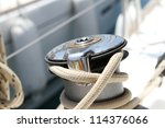 close up of a boat winch on...