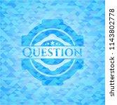 question sky blue emblem.... | Shutterstock .eps vector #1143802778