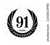 91 years anniversary. elegant... | Shutterstock .eps vector #1143813998