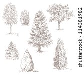 hand drawn trees isolated on...