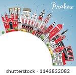 krakow poland city skyline with ... | Shutterstock . vector #1143832082