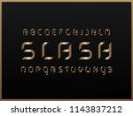 slash gold alphabet. vector... | Shutterstock .eps vector #1143837212
