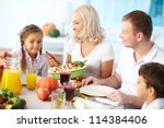 portrait of happy parents and... | Shutterstock . vector #114384406